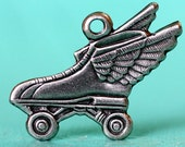 2pc Winged Roller Skate Charm, Nickel Free Antique Silver Plate (WRS1-AS)