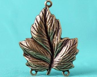 1pc Three-Bail Leaf Charm, Oxidized Brass (LEF3-BX)