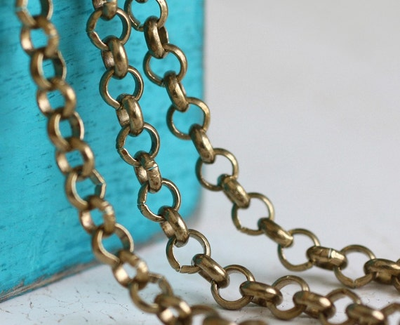 3ft Rolo Chain, Antiqued Brass Plate (NL03)