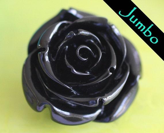 Jumbo Carved Rose Bead, Black (RJB1)