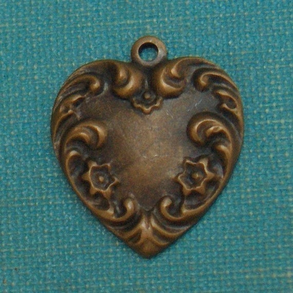 6pc Victorian Scroll Heart Charm, Hand Finished Antiqued Patina (CVH1)