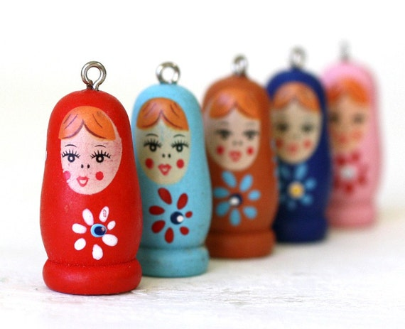 5pc Wooden Matryoshka Doll Charm, LIGHT BLUE (MWML)