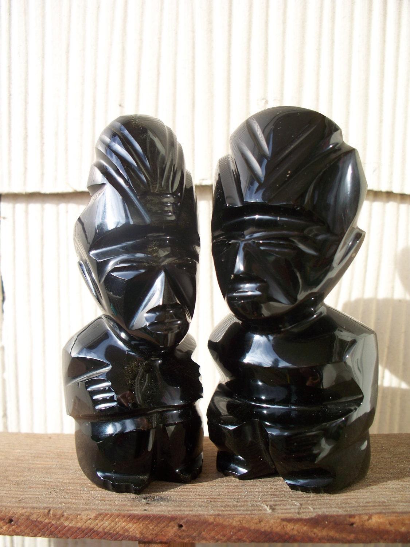 Vintage Carved Obsidian Idols