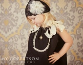 My Whimsy Girl Vintage Inspired  Black 1920 Dress with Ruffle Ribbon, Lace and Button
