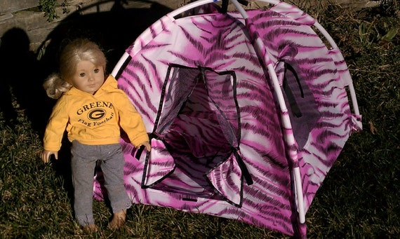 Pink Animal Print American Girl Doll Tent with Matching Sleeping Bag and camp fire Reserved for Nikki