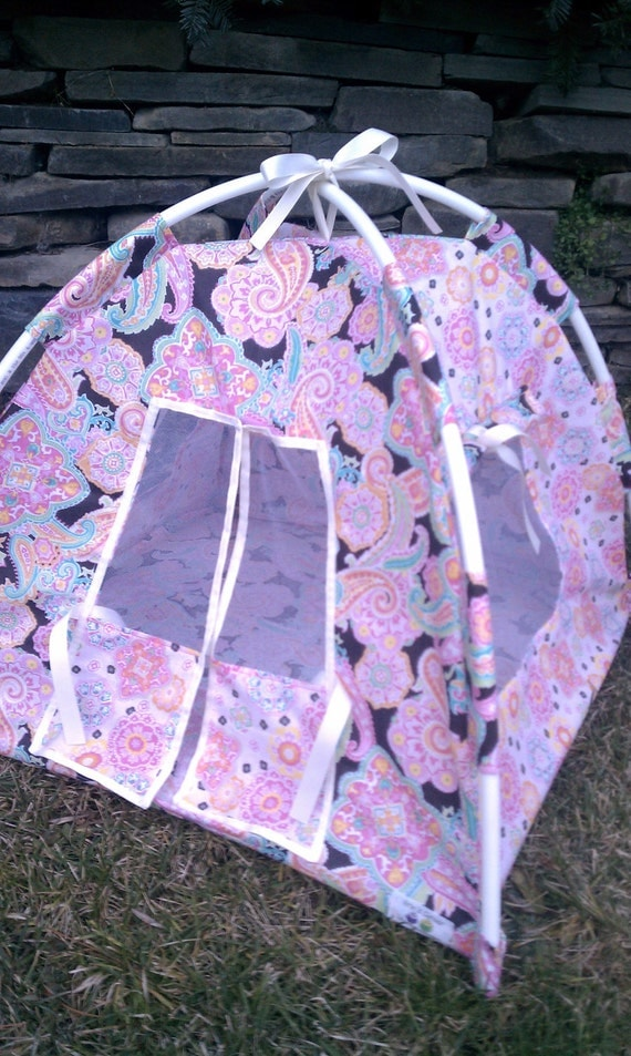 SALE Pink and Brown Paisley American Girl Doll Tent