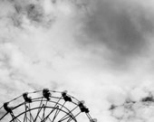 RESERVED: Ferris Wheel- 5x7 Fine Art Black and White Carnival Photograph