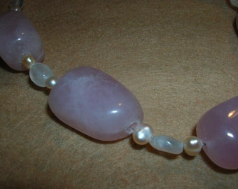 rose quartz and pink pearls