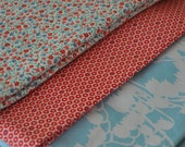 red and aqua fabric destash