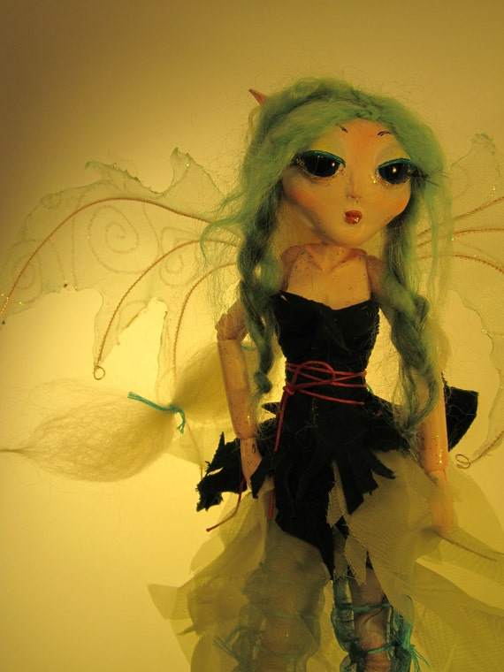 ROBIN Paper Clay Art Doll OOAK Ball Jointed Doll Woodland Fairy