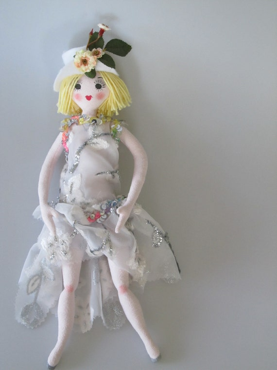Deco Dollie, 1920's style doll, ooak, rag doll, Made in America