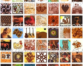 Mostly Brown Inchies Digital Collage Sheet 1x1 Inch Squares 63 Different Images Scrapbooking