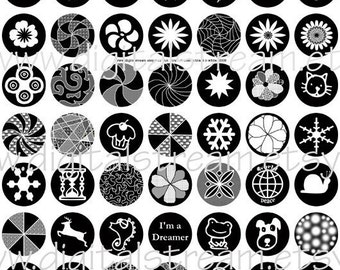 Fun 1 Inch Circles in Black n White Digital Collage Sheet 63 Different Bottle Cap Images Scrapbooking