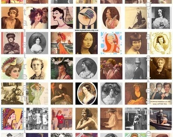Ladies n Gals Inchies Digital Collage Sheet 1x1 Inch Squares 63 Different Images Scrapbooking