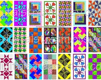 Quilt Designs Digital Collage Sheet 35 Different 1x2 Inch Domino Images Scrapbooking
