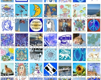 Mostly Blue Digital Collage Sheet 1x1 Inch Squares 63 Different Images Scrapbooking