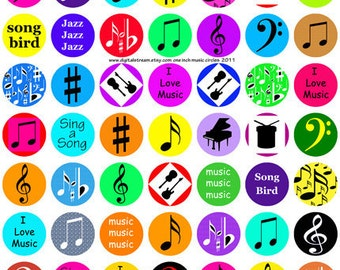 Music Theme Bottle Cap Size Digital Collage Sheet 63 One Inch Circle Images Scrapbooking