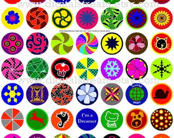 Fun 1 Inch Circles in Color Digital Collage Sheet 63 Different Bottle Cap Images Scrapbooking