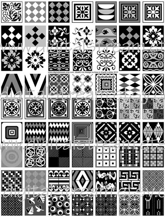 zentangle tile template - classic tile design inchies in black n white digital collage