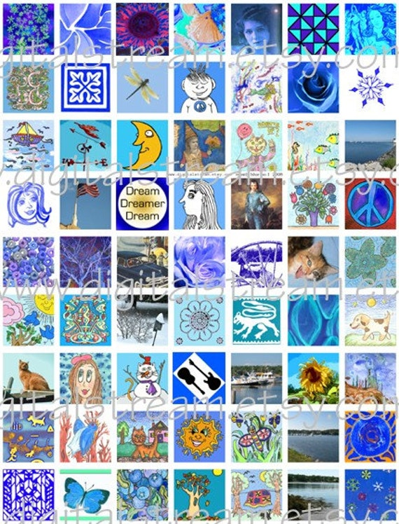 Mostly Blue Digital Collage Sheet 1x1 Inch Squares 63 Different Images
