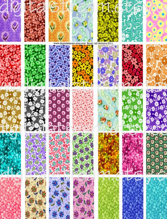 Floral Fun Digital Collage Sheet 35 Different 1x2 Inch Domino Images