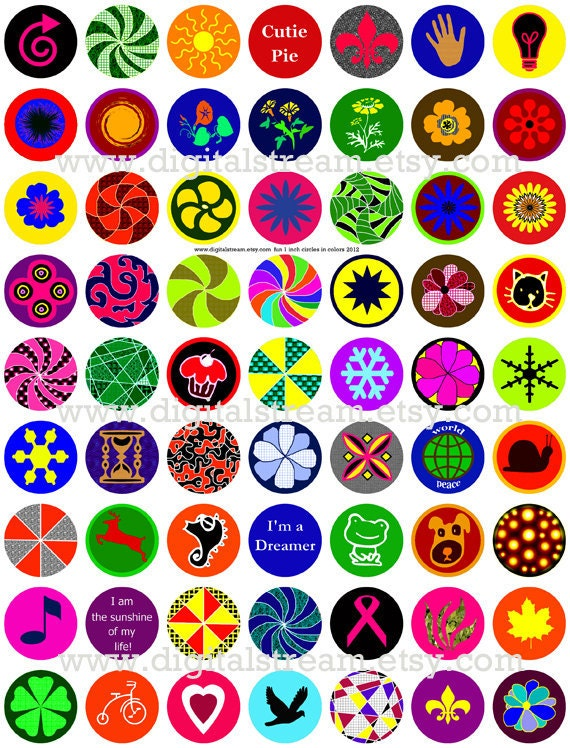 Fun 1 Inch Circles in Color Digital Collage Sheet 63 Different Bottle Cap Images