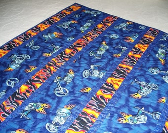 Motorcycle Theme Handmade Lap Quilt, Nap Quilt, I Love Motorcycles, Blue Quilt, Guy Quilt, Made in America