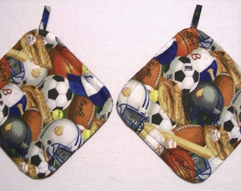 Sports Theme Insulated Pot Holders, Set of 2, Hot Pad, Trivet, Potholder, For the Kitchen, For the Cook