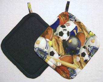 Sports Theme Insulated Pot Holders, Set of 2, Hot Pad, Trivet, Potholder, For the Kitchen, For the Cook, Made in America