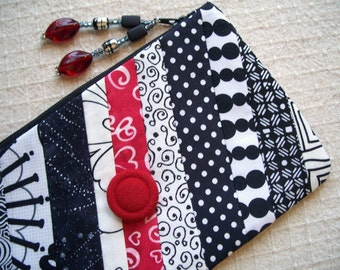 Lined Fabric Zipper Bag, Pouch, Slash of Red Zippy, Red, White, Black Clutch, Makeup Bag, Cosmetic Bag, Made in America