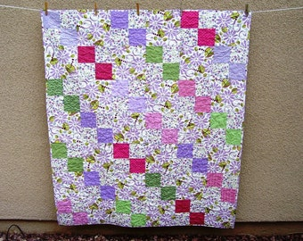 Lavender & Pink Lap Quilt, Spring Colors Quilt, Floral Quilt Throw, Handmade, Made in America