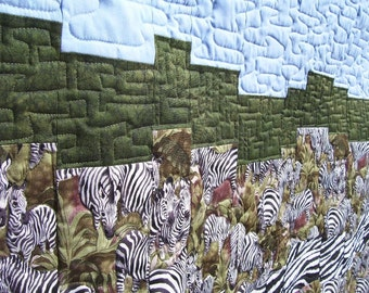 Zebra Bargello Quilted Wallhanging or Lap Quilt, Art Quilt, Pictoral Quilt, African Inspired Art Quilt, Made in America