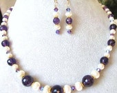 VALENTINES SALE, Classic Amethyst Necklace & Earrings, February Birthstone, 14k Gold Filled Luxe Jewelry For Her, Gift Box Ready To Ship