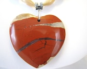 Red Jasper Heart Pendant, Natural Stone, Champagne Beaded Necklace, Bali Sterling Silver Necklace, Valentines Gift For Her, Ready to Ship