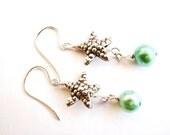 SALE, Hill Tribe Fine Silver Star Fish Earrings, Mint Green Freshwater Pearl Earrings, Sterling Silver Earrings, Beach Weddings