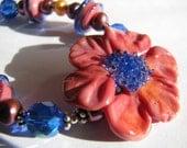 Artisan Sculptured Lampwork Glass Flower Bracelet, Coral Pink, Cobalt Blue, Sterling Silver Statement Bracelet, Gift For Her, Ready To Ship