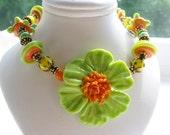 Kiwi Lime Flower Blossom Bracelet, Exotic SRA Artisan Lampwork Glass Hand Beaded Bracelet, Antique Brass, Frog Charm, Handmade Girls Gift
