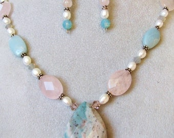DAY SALE, India Agate Teardrop Pendant Necklace & Earrings, Natural Teal Cream Pink, Sterling Silver, Gift For Her, Gift Box, Ready To Ship