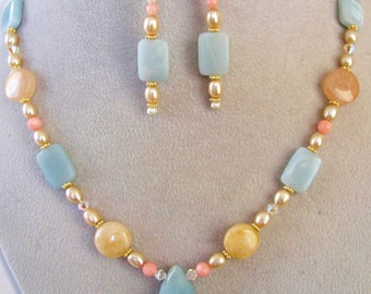 Amazonite Pendant, Natural Stone Necklace, Gemstone Earrings, Gold Filled Jewelry, Handmade Gift Set For Her, Ready To Ship