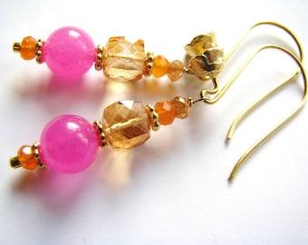 SALE, Apricot Quartz Earrings, Carnelian Earrings, Citrine Earrings, Pink Jade Earrings, Gold Vermeil Flower Earrings, Luxe Gift