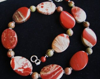 CRAZY SALE, Unique Red Jasper Necklace, Bracelet & Earrings, Natural Stone, Sterling Silver, 3 Pc Matching GIFT Set For Her, Ready To Ship
