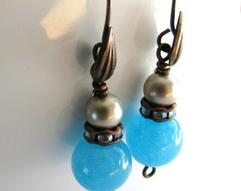 Turquoise Earrings, Blue Jade Stone Earrings, Vintage Patina Brass Earrings, Handmade Gift for Her, In Stock, Ready To Ship