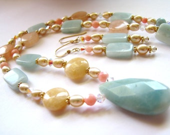 ON SALE, Amazonite Pendant Necklace & Earrings, Multi-Gemstone Aqua Yellow Peach, Pearls, Coral, Crystals, 14k Gold Filled, Ready To Ship