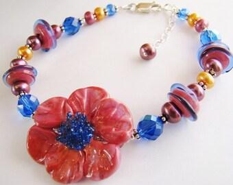SALE 30% OFF, Pink & Blue Lampwork Flower Bracelet, Handcrafted OOAK Statement Bracelet, Pearls, Crystals, Sterling Silver, Ready To Ship