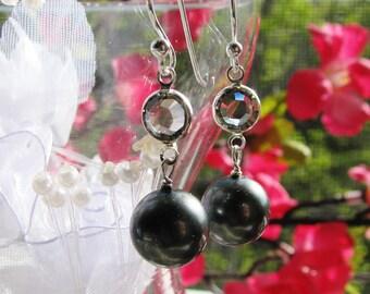 Black Pearl Earrings, Swarovski Black Diamond Crystal Earrings, Bali Sterling Silver Earrings, Gift For Her, Ready To Ship