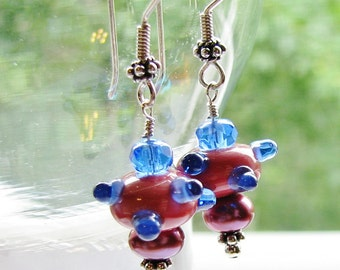 SALE, Rose Pink & Cobalt Blue Lampwork Earrings, Bumpy Glass Beads, Plum Pearls, Bali Sterling Silver Earrings For Her, Ready To Ship