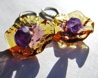 Genuine Amethyst Teardrop Earrings, Fairy Flower Earrings, Amber Lampwork Earrings, Sterling Silver Earrings, Jewelry GIFT, Ready To Ship