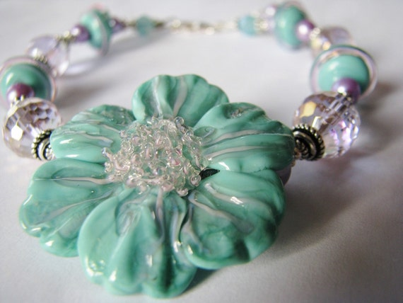 Romantic Victorian Lampwork Bracelet, Aqua, Lilac, Sculptured Glass Flower Set, Freshwater Pearls, Crystals, Bali Sterling Silver Gift