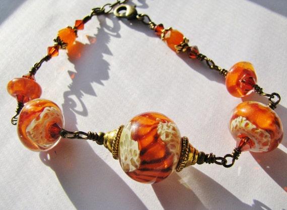 Tiger River Lampwork Bracelet - Orange, Black Stripes Boro Lampwork Glass, Red Swarovski Crystals, Antique Bronze, Safari Bracelet - SALE