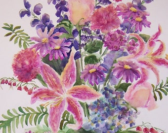 Garden Bouquet  Watercolor Floral Painting Original 14 x 22